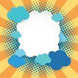 Frame template with blue clouds on orange background Stock Photography
