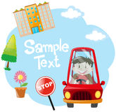 Frame template with boy driving car Royalty Free Stock Images