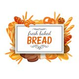 Frame template with bread Stock Photography