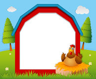 Frame template with chicken in the nest vector illustration