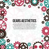 Frame template of colored gears and cogwheels vector illustration