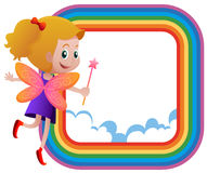 Frame template with fairy flying on the rainbow Stock Image