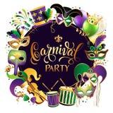 Frame Template with Golden Carnival Masks on Black Background. Glittering Celebration Festive Border. Vector. Frame Template with Golden Carnival Masks on Black Royalty Free Stock Photography