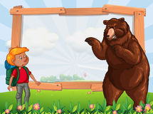 Frame template with hiker and bear Royalty Free Stock Images
