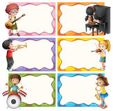 Frame template with kids playing musical instruments Stock Photo
