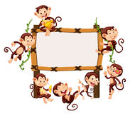 Frame template with monkeys Stock Photo