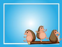 Frame template with three hedgehogs. Illustration Royalty Free Stock Photography