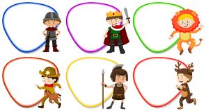Frame templates with kids in costume. Illustration vector illustration