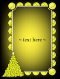 Frame with tennis ball. Yellow frame with tennis ball and Christmas tree from tennis ball on a black background. Vector illustration Stock Photos
