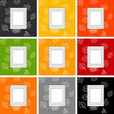frame for text against the background of autumn leaves, set of frames on backgrounds of different colors stock illustration