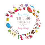Frame for text with baby items. Vector frame for text image of children and sweets stock illustration