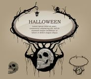 Frame text ,background haunting for halloween black and white sk. Ull royalty free illustration