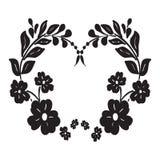 Frame for text black flower. On a white background vector illustration