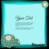 Frame for text with blossoming Lophophora williamsii cactus family and word Peyote Stock Photos
