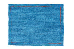 Frame for the text from a blue jeans fabric with the stitched li Stock Images