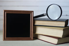 Frame for text books and watch Royalty Free Stock Photo