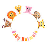 Frame for text cute animals, blank space for text baby animals, invitation, vector illustration Royalty Free Stock Photo