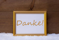 Frame With Text Danke Means Thank You On Snow Royalty Free Stock Images