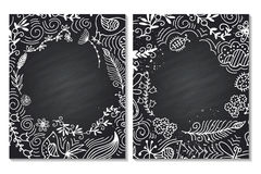 Frame for text with floral ornament summer. Chalk board. White on black. Vector floral decorative background. Template frame design for card with place for your Stock Images