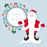 Frame for text in the gifts with Santa Claus Royalty Free Stock Image
