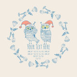 Frame for text with an owl Stock Images