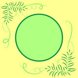 Frame for text round, decoration with leaves. Green-yellow tones Stock Image