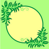 Frame for text round, decoration with leaves. Green-yellow tones Royalty Free Stock Images