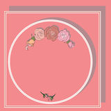 Frame for text, round with roses and shadows. Frame for text, rectangular, round with roses and shadows Royalty Free Stock Image