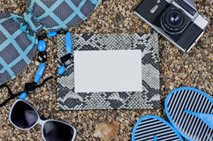 Frame and things for holidays on the beach Royalty Free Stock Image