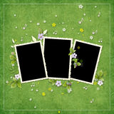 Frame for three photos with artificial flowers