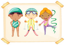 A frame with three sporty kids Stock Images