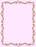 Frame with tiny flowers. On light pink background stock illustration