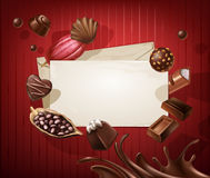 Frame for the title with a pattern of chocolates Stock Photos