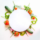 Frame with tomato and herbs Stock Image