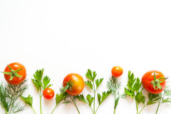 Frame with tomato and herbs Stock Photography