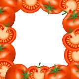 Frame of tomatoes. Natural bio vegetable, healthy organic food. Realistic vector illustration Stock Images