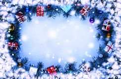 Christmas background with decorations.Frame. Toned image. stock photos