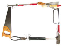 Frame of tools. Tools making a frame on white background Royalty Free Stock Image