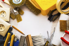 Frame of tools for home repairs Royalty Free Stock Image