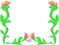 Frame of Torch Flowers and Spiral Heart Royalty Free Stock Photo