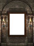 Frame with torches. Wooden frame on stone wall with torches Stock Image