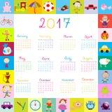 Frame with toys 2017 calandar for kids Stock Photos