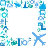 Frame with Travel icons Stock Images