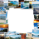 Frame of travel photos. On white background, with the scent of faraway places Royalty Free Stock Photos