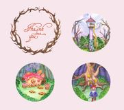 Frame, tree, branch, pictures, illustrations, fairy tales, children royalty free illustration