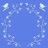 Frame of tree branches with birds Royalty Free Stock Photos