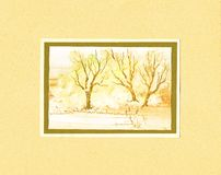 Frame with trees, painting. Royalty Free Stock Photography