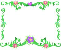 Frame of Tropical Borders and Flowers Stock Photo