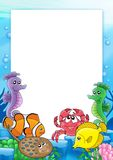 Frame with tropical fishes 2. Color illustration Stock Photo