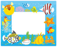 Frame with tropical fishes Royalty Free Stock Photos